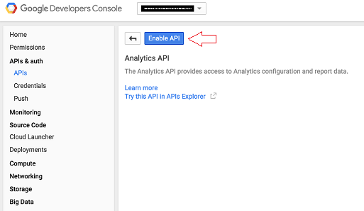 Enable Ananlytics API in Google Developers Console